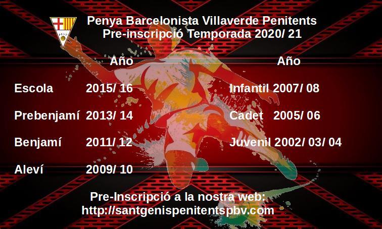 PRE – INSCRIPCIÓ TEMPORADA 2020-21